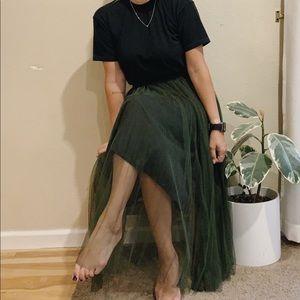 Olive Green Tulle Skirt